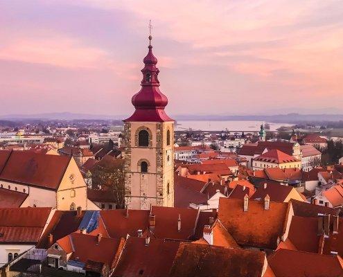 Panorama di Ptuj dal castello