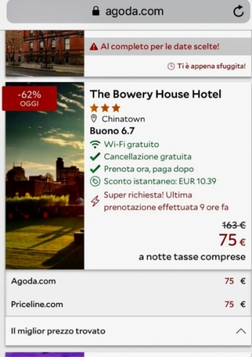 Dal sito di Agoda.com: 1 notte a New York