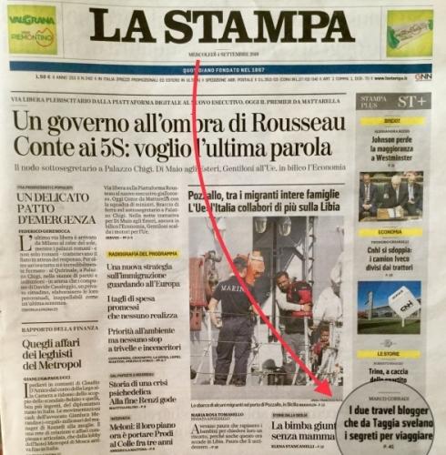 Elisir di lungo viaggio in prima pagina su La Stampa 4/9/2019